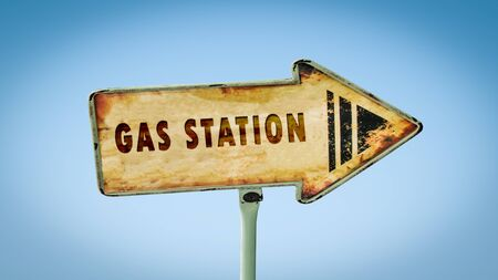 Street Sign the Direction Way to Gas Station