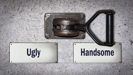 Wall Switch the Direction Way to Handsome versus Ugly 스톡 콘텐츠 - 128459976