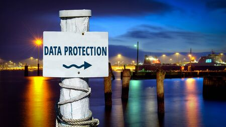 Street Sign the Direction Way to DATA PROTECTION