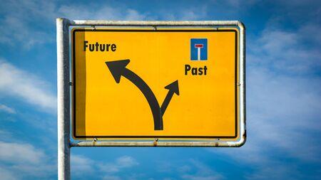 Street Sign the Direction Way to Future versus Past Stock fotó
