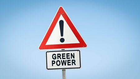 Street Sign the Direction Way to Green Power Stock Photo