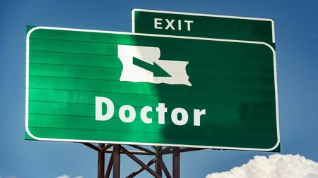Street Sign the Direction Way to Doctor