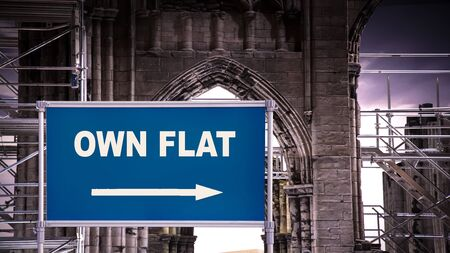 Street Sign the Direction Way to Own Flat Stock Photo
