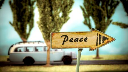 Street Sign the Direction Way to Peace Stock Photo