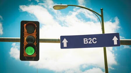 Street Sign the Direction Way to B2C Stock Photo