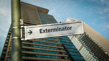 Street Sign the Direction Way to Exterminator Stok Fotoğraf
