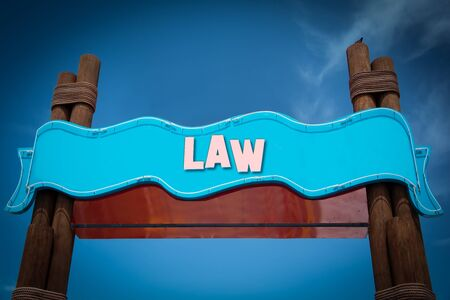 Street Sign the Direction Way to to Law