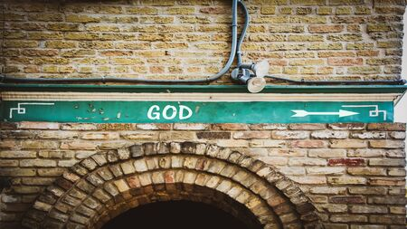 Street Sign the Direction Way to God Stok Fotoğraf