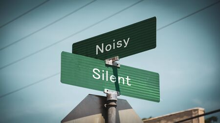 Street Sign the Direction Way to Silent versus Noisy 写真素材 - 129222947