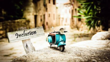 Street Sign the Direction Way to Inclusion Zdjęcie Seryjne
