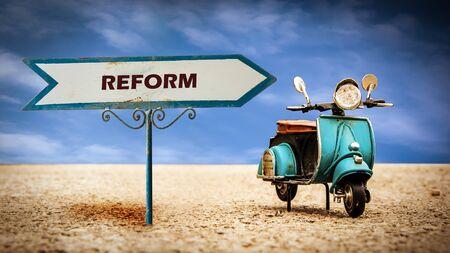 Street Sign the Direction Way to to Reform Zdjęcie Seryjne