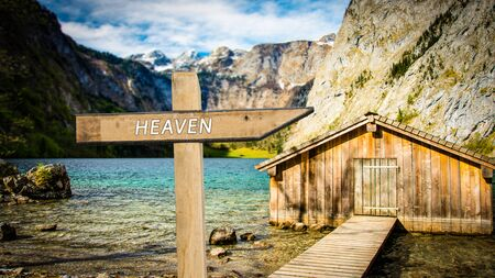 Street Sign the Direction Way to Heaven Stockfoto