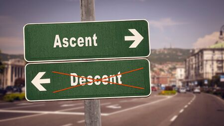 Street Sign the Direction Way to Ascent versus Descent