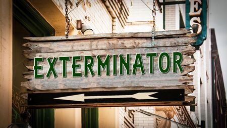 Street Sign the Direction Way to Exterminator Stockfoto