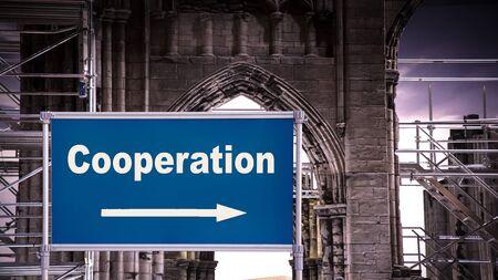 Plaque de rue le chemin vers la coopération