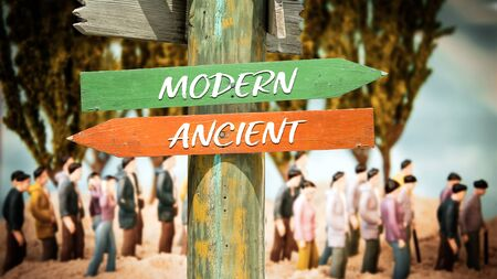 Street Sign the Direction Way to Modern versus Ancient Foto de archivo