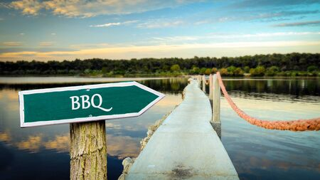 Street Sign the Direction Way to BBQ