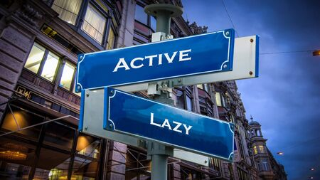 Street Sign the Direction Way to Active versus Lazy Banco de Imagens