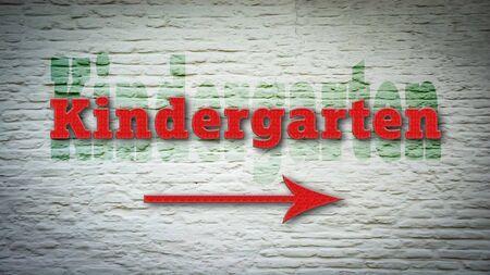 Street Sign the Direction Way to Kindergarten