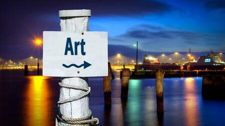 Street Sign the Direction Way to Art Banco de Imagens