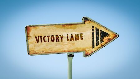 Street Sign the Direction Way to Victory Lane
