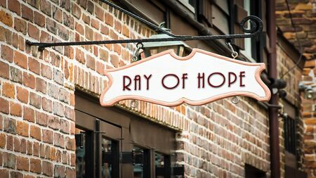 Street Sign the Direction Way to Ray of Hope Stockfoto