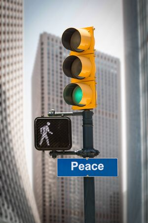 Street Sign the Direction Way to Peace Stockfoto
