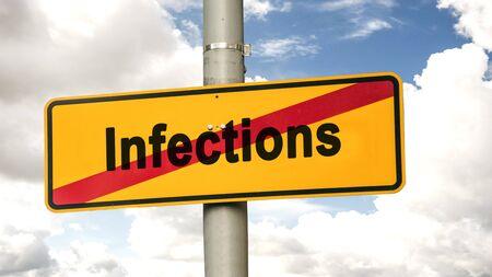 Street Sign the Direction Way to Hygiene versus Infections Zdjęcie Seryjne