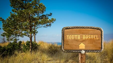 Street Sign the Direction Way to Youth Hostel Reklamní fotografie