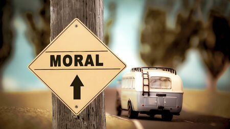 Street Sign the Direction Way to Moral
