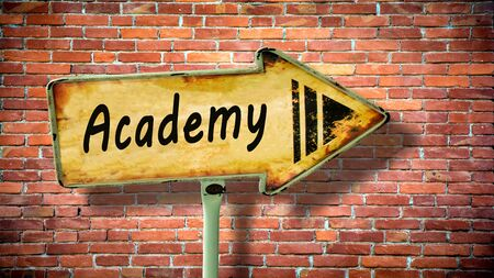 Street Sign the Direction Way to Academy
