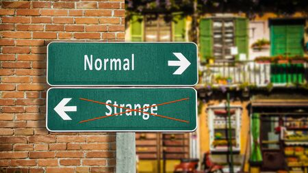 Street Sign the Direction Way to Normal versus Strange