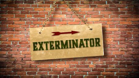 Street Sign the Direction Way to Exterminator Stok Fotoğraf - 129479184