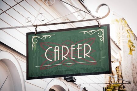 Street Sign the Direction Way to Career Stock Photo - 129509992