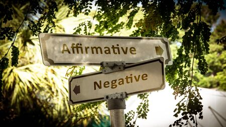 Street Sign theDirection Way to Affirmative versus Negative Imagens