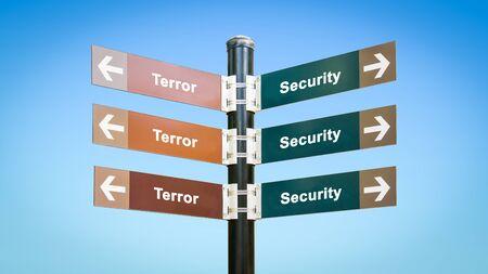 Street Sign the Direction Way to Security versus Terror Reklamní fotografie