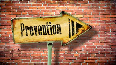 Street Sign the Direction Way to Prevention Stock Photo