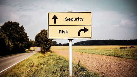 Street Sign the Direction Way to Security versus Risk Stok Fotoğraf