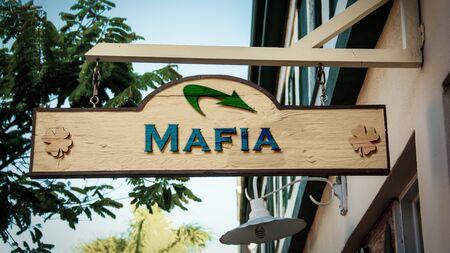 Street Sign the Direction Way to Mafia Stock Photo