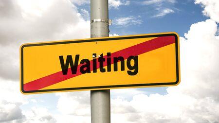 Letrero de la calle la dirección de la forma de hacer frente a esperar