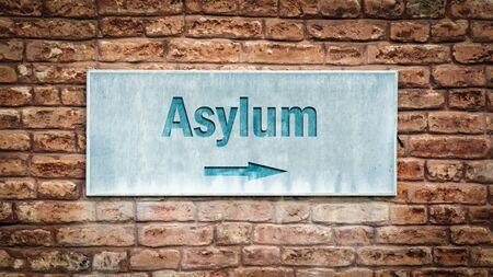 Street Sign the Direction Way to Asylum Stock fotó