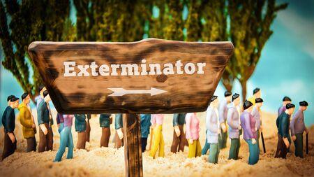 Street Sign the Direction Way to Exterminator Stock fotó