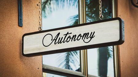 Street Sign the Direction Way to Autonomy Stok Fotoğraf