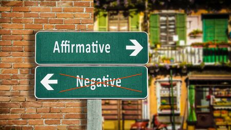 Street Sign theDirection Way to Affirmative versus Negative 版權商用圖片