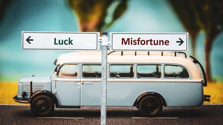 Street Sign the Direction Way to Luck versus Misfortune Reklamní fotografie