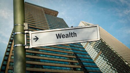 Street Sign theDirection Way to Wealth