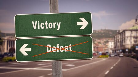 Street Sign the Direction Way to Victory versus Defeat Stok Fotoğraf - 131208457