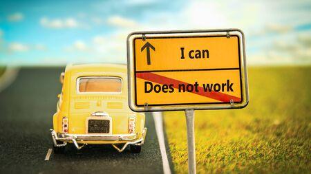 Cartel de la calle en la dirección Camino a I can versus does not work Foto de archivo