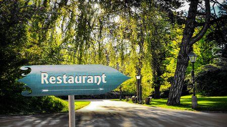 Street Sign the Direction Way to Restaurant Banco de Imagens