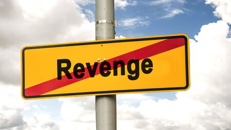 Street Sign the Direction Way to Forgiveness versus Revenge